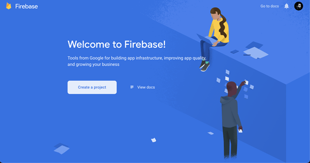 Screenshot of Firebase welcome screen