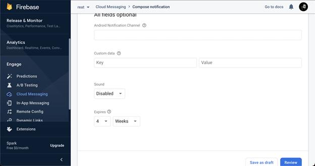 Screenshot of additional push notifications in Firebase