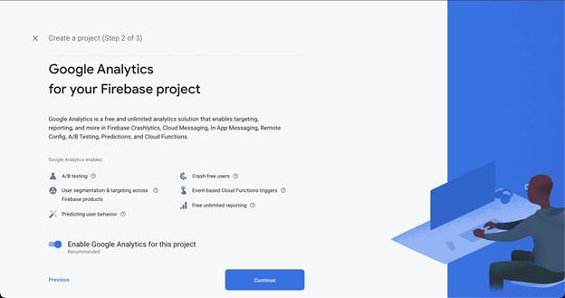 Screenshot of enabling Google Analytics in Firebase