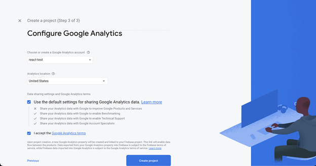 Screenshot of configuring Google Analytics in Firebase