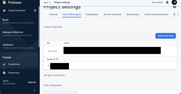 Screenshot of project settings page in Firebase